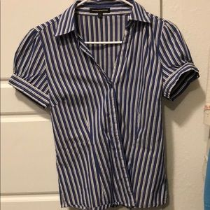 Vertical blue and white striped button up